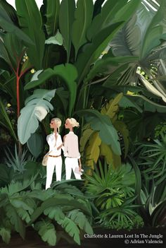 Charlotte & Lauren lost in the jungle illustration by Adrian Valencia