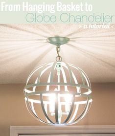 hanging basket to DIY chandelier