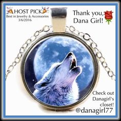 """WOLF CABOCHON NECKLACE    HP  ✨NWOT✨ Intriguing glass cabochon featuring a lone wolf howling at the moon in love.  Tibetan silver chain is 20"""" Jewelry Necklaces"""