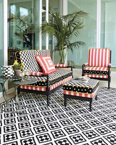 """Spindle+Cabana+Outdoor+Furniture+&+Pillow+by+MacKenzie-Childs+at+Horchow. 56""""W x 33""""D x 37.5""""T."""