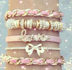 Pinner Said: Pink arm candy! Love the bling! Pink Love, Pretty In Pink, Hot Pink, Do It Yourself Jewelry, I Believe In Pink, Just Girly Things, Pink Things, Kawaii, Cute Bracelets