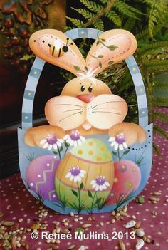 #505 Easter Bunny Basket (Nightlight/Ornament Kit) Easter Paintings, Tole Painting Patterns, Easter Crafts, Easter Ideas, Easter Decor, Spring Painting, Country Paintings, Easter Holidays, Decoupage