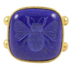 ELIZABETH LOCKE Lapis Lazuli Bee Intaglio Ring | From a unique collection of vintage fashion rings at http://www.1stdibs.com/rings/fashion-rings/