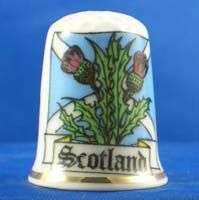 FINE CHINA THIMBLE   SCOTLAND THISTLE AND ST ANDREWS