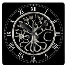 Tree Of Life Square Roman Numerals Clock  Halloween decoration for the home.   http://www.zazzle.com/tree_of_life_square_roman_numerals_clock-256386142883371979?rf=238271513374472230  #halloween  #halloweendecoration