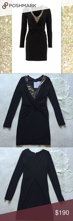 """Mark&James Badgley Mischka Dress NWT Badgley Mischka Dress. Size Small. Length-34"""" Bust-30"""" Waist-26"""" Hip-34"""". It is a jersey knit material with sequins at the neckline. Flattering ruching. Invisible zipper in back. No longer available online or in stores. Badgley Mischka Dresses Long Sleeve"""