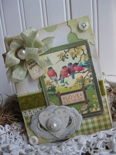 shabby chic old fashion birds LOVE is in the air HAPPY SPRING stiched handmade card