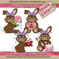 Valentine Bunnies Brown 2