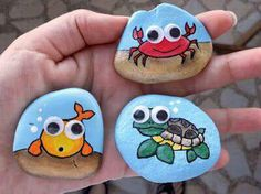 Painted rocks with fish crab & turtle art