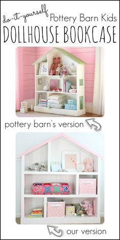 Cutest Dollhouse Bookcase To Build Yourself - I Can Teach My Child! Build a Dollhouse Bookcase that looks even better than the version sold at Pottery Barn Kids! Pottery Barn Kids, Pottery Barn Bookcase, Girls Bookshelf, Bookshelves Kids, Bookshelf Diy, Bookshelf Design, Bedroom Bookcase, Dollhouse Bookcase, Diy Dollhouse
