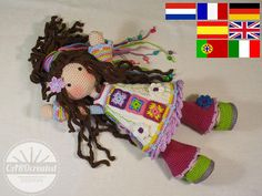 Crochet pattern for doll YUNA, pdf  (Deutsch, English, Nederlands, Español, Italiano, Français, Português)