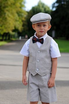 Baby boy dress clothes Grey vest hat and shorts Ring bearer clothes Custom tailored clothing by Nastiin