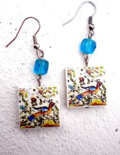 COIMBRA Portugal 17th Century  Pottery Earrings with BIRD  Waterproof and Reversible 460