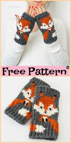 These Crochet Fox Mittens are pretty cute, and they also come with a knitting design. We have both knit and crochet design Crochet Fox, Crochet Gloves, Crochet Crafts, Crochet Projects, Free Crochet, Crochet Slippers, Crochet Designs, Knitting Designs, Knitting Patterns
