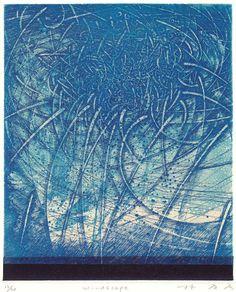 windscape  18x15cm  copperplate print with chine collé( etching)  林孝彦 HAYASHI Takahiko 2000