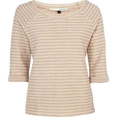 beige textured sweat top  - River Island
