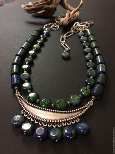 """Купить Колье """"Калабрия"""" с азуритом - комбинированный, сине-зеленый, украшения ручной работы, украшение на шею"""