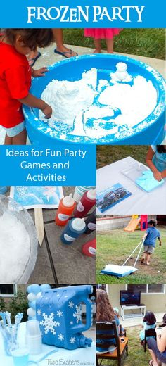 Disney Frozen Party Games and Activities - Throwing a Frozen Birthday Party? We have great ideas for Frozen-themed DIY Party Games and Activities including DIY Play Snow, Troll Slime, Snow Cones and more! Frozen Party Games, Frozen Bday Party, Frozen Themed Birthday Party, Disney Frozen Party, 4th Birthday Parties, Olaf Party, Birthday Ideas, 3rd Birthday, Frozen Party Activities