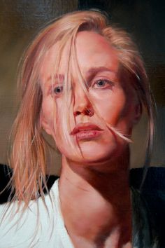 Artist: Jon Bøe Paulsen; Norwegian b. 1958 {contemporary figurative art blonde head female face portrait painting detail}