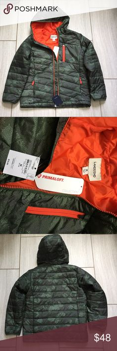 Brand new Lands' End boys 10-12 Primaloft Jacket This is brand new, and just purchased in March 2017. It is for sale because it doesn't fit my son. Warmth without bulk. 100% polyester shell, lining and insulation.  Size is Medium, 10-12. Lands' End Jackets & Coats Puffers