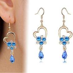 new design fashion big long heart shaped gold plated blue crystal dangle earrings for women fine jewelry pendientes