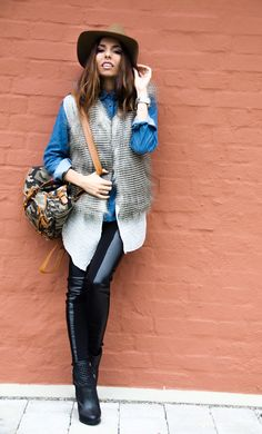 25 Cool Ways to Wear a Faux Fur Vest | StyleCaster