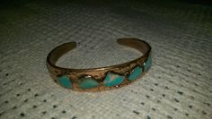 BRACELET-stamped Solid Copper-turquoise stones,gorgeous,must see,rare