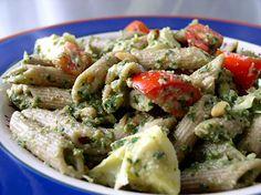 Artichoke Pesto Pasta Salad #recipe