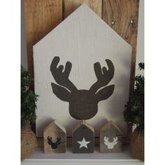 XL steigerhouten huis rendier, stoere #kerstdecoratie