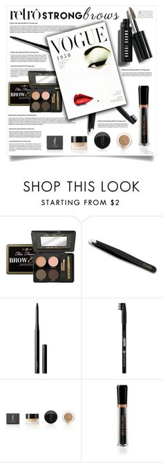 """Raise Your Brows: Retro Brows"" by leoll ❤ liked on Polyvore featuring beauty, Too Faced Cosmetics, Rubis, NARS Cosmetics, Essence, M2BEAUTÉ, Bobbi Brown Cosmetics, BeautyTrend, strongbrows and boldeyebrows"