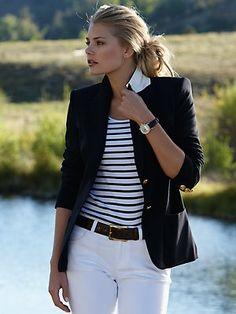 Blazer + stripes + white jeans