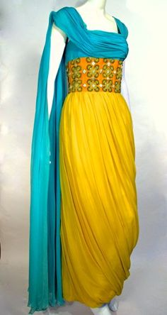 Dress, evening, yellow and turquoise silk chiffon with beaded orange silk midriff, labelled Maggy Rouff, Paris, c. early 1960s, Fashion History Museum founder's collection