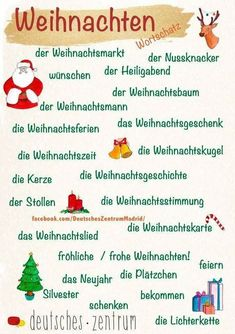 Christmas - Vocabulary - Learn German (German, German, Duits, tedesco, alemán) - profNLDS - Photos - Travel and Extra German Language Learning, Learn A New Language, Teaching English, German Grammar, German Words, German Resources, Alphabet For Kids, German Christmas, Learn Languages