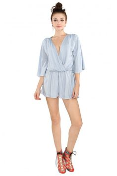 The Skies The Limit Romper in Light blue | Necessary Clothing