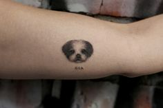Micro pet portraits as tats are turning heads. Boasting life-like realness, these inky masterpieces are a wearable work of art. Small Dog Tattoos, Cat And Dog Tattoo, Mini Tattoos, Body Tattoos, Tatoos, Pet Tattoos, Pet Tattoo Ideas, Tattoo Skin, Tattoo Perro