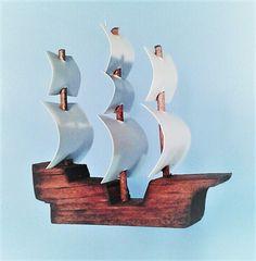 VELA barco ornamento nave de madera ornamento Navidad
