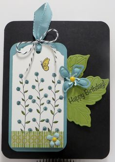 Stampin' Up Flowering Fields Botanicals Tag Card created by Lynn Gauthier using Flowering Fields, Talented Trio and  Birthday Blooms Stamp Sets and Rose Garden Thinlits and  Botanical Builder Framelits Dies. Go to http://lynnslocker.blogspot.com/2016/01/stampin-up-flowering-fields-botanicals_13.html to see how this card was made.