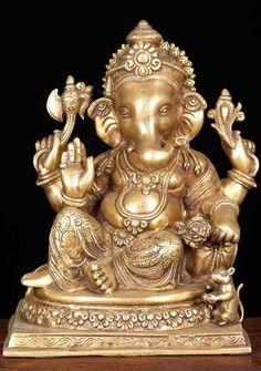 "Brass Ganesh Statue with Rat 14"""