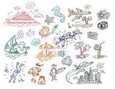 Disegnata a mano spiaggia vacanza insieme illustrazione Archivio Fotografico
