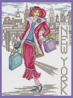 beautiful cross stitch | New York Lady © Joan A. Elliott