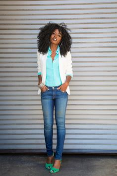 Style Pantry | Mint Fitted Oxford Shirt + Faded Skinnies