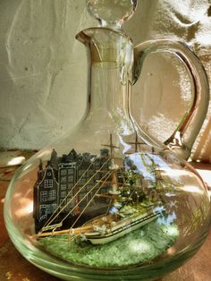 Ship in a bottle - made by Ignazio Cogoni Boat In A Bottle, Ship In Bottle, Bottle Art, Model Ship Building, Message In A Bottle, Door Stop, Model Ships, Sailboats, Wine Decanter