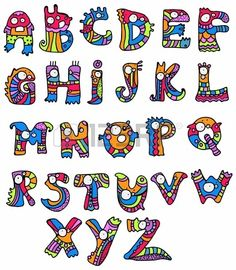 Joyful Cartoon font - from A to Z, monster hand drawn letter, funny Alphabet for Design