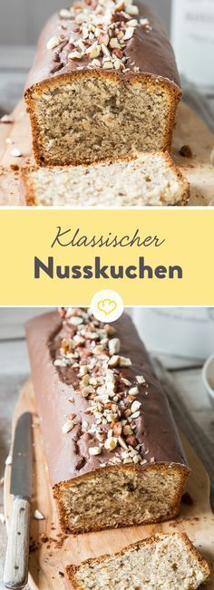 Saftig, locker und natürlich richtig nussig: So muss er sein, der klassische Nu… Juicy, loose and naturally nutty: this is the case, the classic nut cake like that of Omi. Healthy Dessert Recipes, No Bake Desserts, Baking Recipes, Cake Recipes, Food Cakes, Cake & Co, Dessert Bread, Cakes And More, Cake Cookies