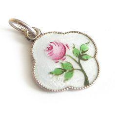 Jugendstil Emaille Silber Charms Anhänger 1910 Rose silver pendant enamel
