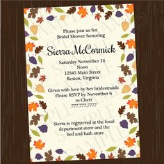 Fall Autumn Leaves Digital Bridal Wedding Shower Invitation. Printable DIY invite you can make at home or print at a copy store.