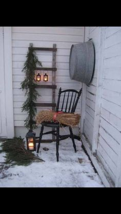 Husfruas Memoarer: winter porch display with an old ladder with hanging lanterns… – Outdoor Christmas Lights House Decorations