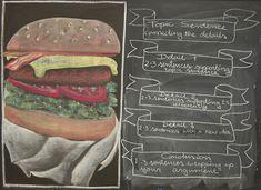 Waldorf ~ 4th grade ~ Language Arts ~ The Hamburger Paragraph ~ chalkboard drawing
