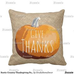 Rustic Country Thanksgiving Pumpkin Throw Pillow