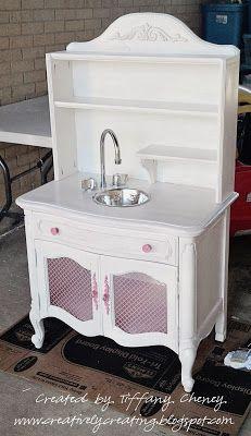 repurposed furniture, children's kitchen